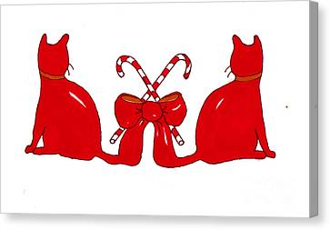 Red Xmas Ribbon Cats Canvas Print by Rachel Lowry