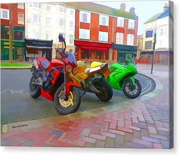 Red Yellow Green Motorbikes Canvas Print by Alan Armstrong