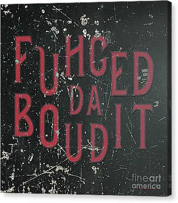 Canvas Print featuring the digital art Redblack Fuhgeddaboudit by Megan Dirsa-DuBois