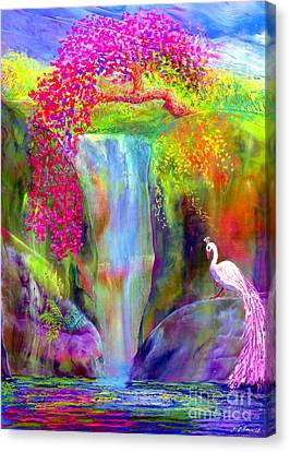 Garden Flowers Canvas Print - Waterfall And White Peacock, Redbud Falls by Jane Small