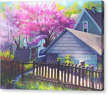 Redbud Tree In Oldtown Springtime Canvas Print by Bobbi Baltzer-Jacobo