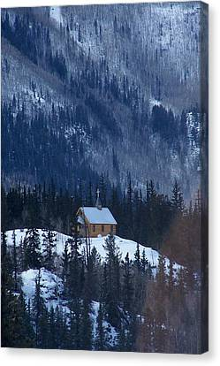 Redcloud Chapel In Blue Canvas Print by David Ackerson