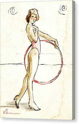Hoops Canvas Print - Redhead With Hoop by H James Hoff
