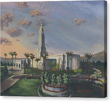 Redlands Temple Canvas Print by Jeff Brimley