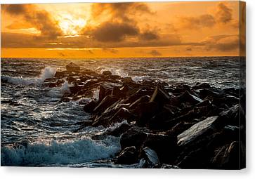 Redondo Beach Sunset Canvas Print by Ed Clark