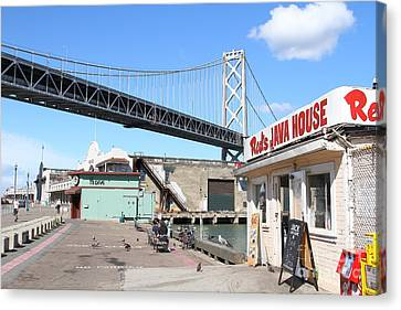 Reds Java House And The Bay Bridge At San Francisco Embarcadero . 7d7712 Canvas Print by Wingsdomain Art and Photography