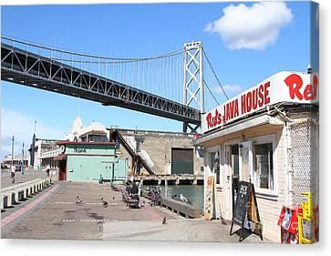 Reds Java House And The Bay Bridge At San Francisco Embarcadero . 7d7712 Canvas Print by Wingsdomain Art and Photography