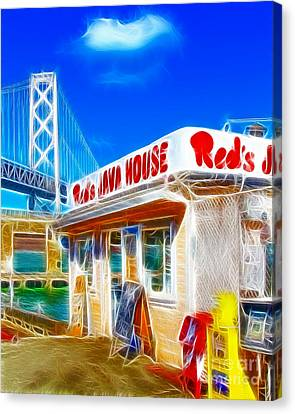 Red's Java House Electrified Canvas Print by Wingsdomain Art and Photography