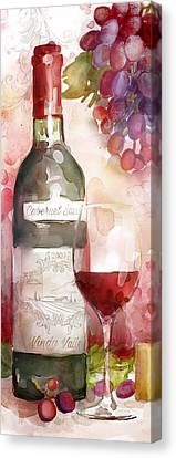 Redwinewatercolor Canvas Print by Mauro DeVereaux