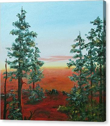 Canvas Print featuring the painting Redwood Overlook by Roseann Gilmore