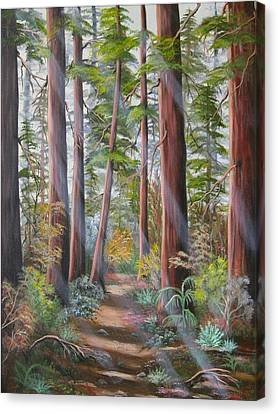 Canvas Print featuring the painting Redwood Path by Joni McPherson