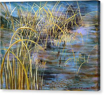 Reeds In The Water Canvas Print by Art Nomad Sandra  Hansen