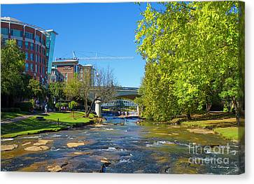 Reedy River Falls Flows On Greenville Sc Canvas Print by Reid Callaway