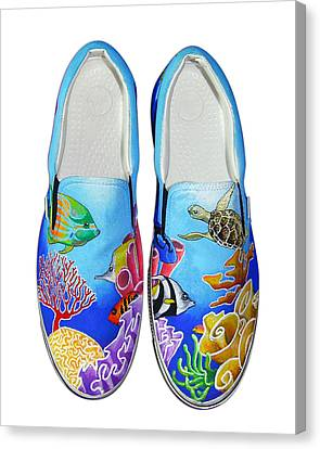 Reef Walkers Canvas Print by Adam Johnson