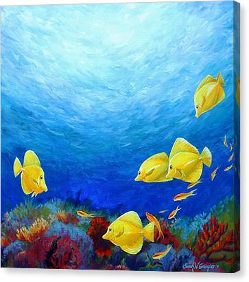 Reef With Yellow Tangs Canvas Print