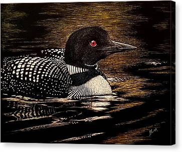 Loon Canvas Print - Refections Of A Loon by Janet Funk