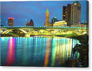 Reflected Colors Of A Columbus Skyline At Dusk Canvas Print by Gregory Ballos