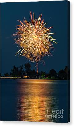 Reflected Fireworks Canvas Print by Joann Long