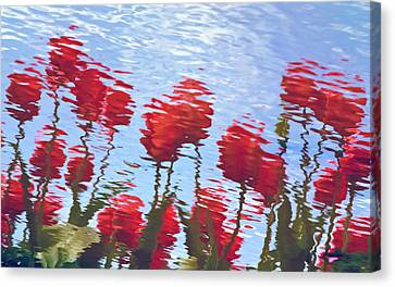 Canvas Print featuring the photograph Reflected Tulips by Tom Vaughan