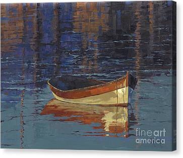 Sold Reflecting At Day's End Canvas Print by Nancy  Parsons