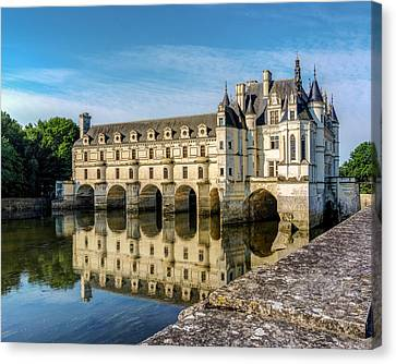 Chateau Canvas Print - Reflecting Chateau Chenonceau In France by James Udall