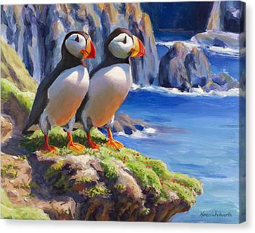 Canvas Print featuring the painting Reflecting - Horned Puffins - Coastal Alaska Landscape by Karen Whitworth