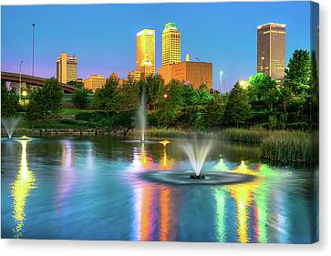 Reflecting Lights Of The Tulsa Skyline Canvas Print by Gregory Ballos