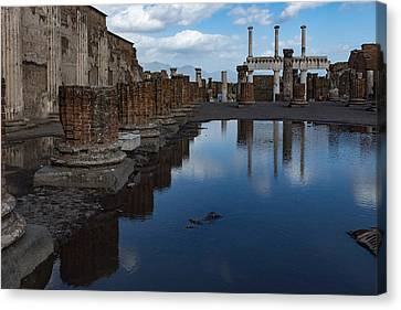 Reflecting On Ancient Pompeii - The Giant Rain Puddle View Canvas Print