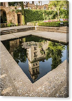 Reflecting Pool - Alhambr Palace - Granada Spain Canvas Print by Jon Berghoff