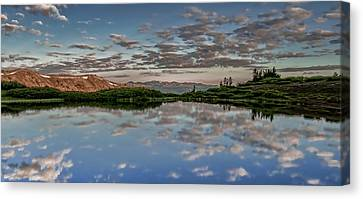 Canvas Print featuring the photograph Reflection In A Mountain Pond by Don Schwartz