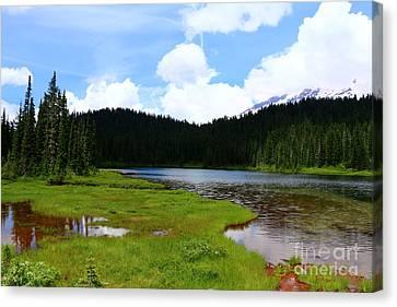 Mountain Reflection Lake Summit Mirror Canvas Print - Reflection Lakes  - Mount Rainier by Christiane Schulze Art And Photography