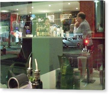Reflection Of Man Drinking A Beer II Canvas Print by Anna Villarreal Garbis