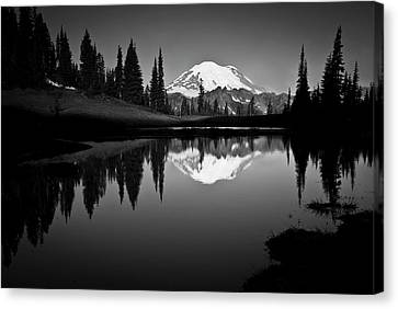 No People Canvas Print - Reflection Of Mount Rainer In Calm Lake by Bill Hinton Photography