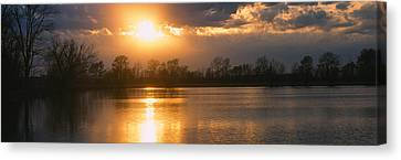 Reflection Of Sun In Water, West Canvas Print by Panoramic Images