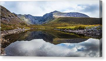 Canvas Print featuring the photograph Reflection Of The Macgillycuddy's Reeks In Lough Eagher by Semmick Photo