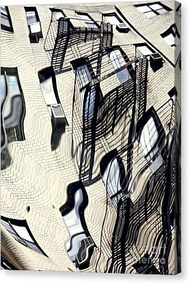 Reflection On A Parked Car 12 Canvas Print by Sarah Loft