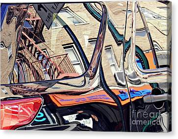 Abstract Art On Canvas Print - Reflection On A Parked Car 18 by Sarah Loft
