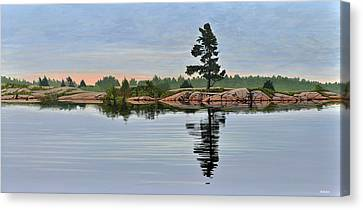 Canvas Print featuring the painting Reflection On The Bay by Kenneth M Kirsch