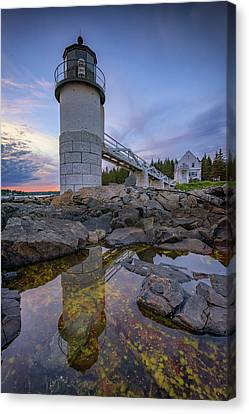 New England Lighthouse Canvas Print - Reflections At Marshall Point by Rick Berk