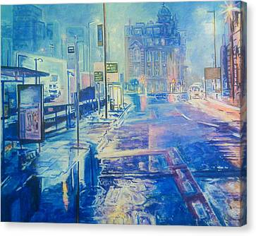 Reflections At Night In Manchester Canvas Print