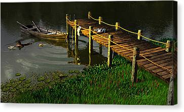 Reflections In A Restless Pond Canvas Print by Dieter Carlton