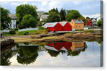 Reflections In Rorvik Canvas Print by Laurel Talabere