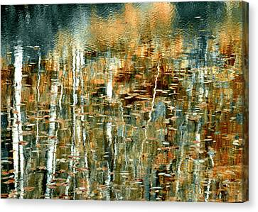 Canvas Print featuring the photograph Reflections In Teal by Ann Bridges