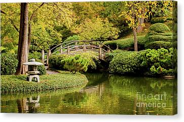 Canvas Print featuring the photograph Reflections In The Japanese Garden by Iris Greenwell