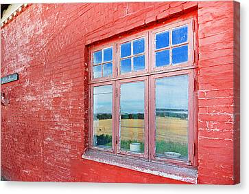 Reflections In The Old Mill House Window Canvas Print by Robert Lacy