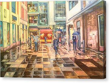 Reflections In The Pavement, Brown Street, Manchester Canvas Print