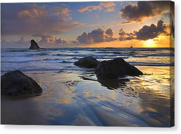 Reflections In The Sand Canvas Print by Mike  Dawson