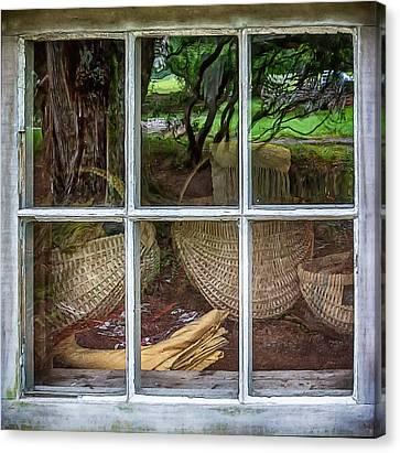 Reflections In The Window Canvas Print by John Haldane