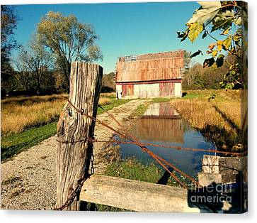 Southern Indiana Autumn Canvas Print - Reflections Of An Old Barn Brown County Indiana by Scott D Van Osdol