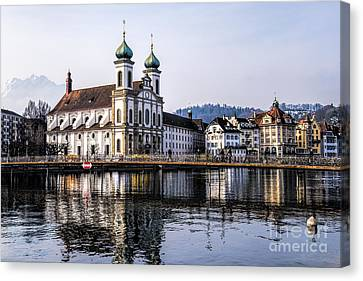 Reflections Of A Church Canvas Print by Pravine Chester